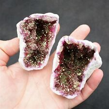RED GOLD QUARTZ GEODE ~ CRACKED QUARTZ  GEODE  PAIR ~  ( 241g )