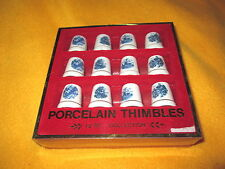 Collection Of 12 Thimbles With Holland Pictures Blue In Color Made In Taiwan