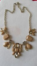 RUNWAY READY! GOLD TONE w/ BLUSH/ YELLOW FAUX  CRYSTAL NECKLACE