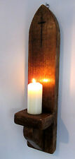 53CM RECLAIMED WOOD GOTHIC ARCH CHURCH WALL SCONCE CANDLE HOLDER WITH CROSS