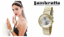 New Ladies Retro Style LAMBRETTA Cielo Stripes Gold Leather Watch model 2105GOL