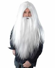 FANCY DRESS WIZARDS WIG AND BEARD SET MERLIN GANDALF DUMBLEDORE STYLE