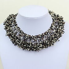 Black Beaded Necklace Chunky Choker Collar Style Bib Necklace Masai DB34