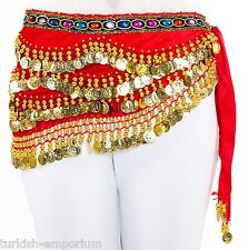 Rhinestone Gems Velvet Coin Belly Dance Hip Scarf Belt Costume Wrap NEW UK