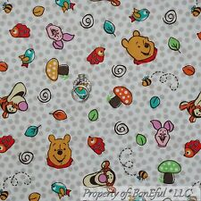 BonEful Fabric Cotton Quilt Red White Blue Dot WINNIE The Pooh Dot Disney SCRAP