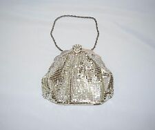 Vintage 20's WHITING & DAVIS Silver Mesh Rhinestone Purse Flapper Evening Bag
