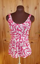 MONSOON fuchsia hot pink white silk floral camisole vest tunic blouse top 8 36