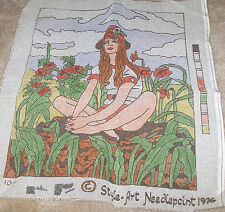 1976 Red Head Woman in Flower Garden Needlepoint Canvas 14x17""