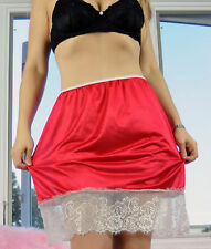 VTG Style Hand made RED All Nylon FRENCH WIDE Lace Half Slip Sissy Skirt sz L XL