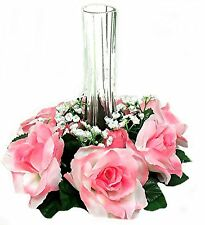Candle Ring Rings~ Rose Petal PINK ~ Wedding Silk Flowers ~ Centerpieces Unity