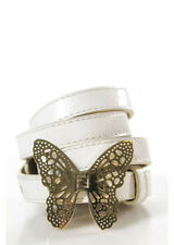 AUTH FENDI White Leather Gold Tone Butterfly Buckle Thin Belt Sz 32 BC7019 MHL