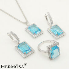 HOT GIFT SETS .925 Sterling Silver Sky Blue Topaz Necklace Earrings Ring s.8