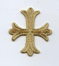 Iron On Embroidered Applique Patch Gold Patonce Fleury Fleur De Lis Cross