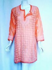 True Vtg 70s BOHO HIPPIE Festival Embroidered India Sheer Gauze TUNIC Dress M L