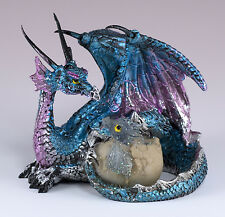 "Small Blue & Purple Dragon w/Baby In Egg Figurine 3.25"" Long Detailed Resin New!"