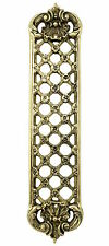 "12"" Brass Lattice Fingerplate – antique trellis period door finger push plate"