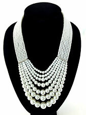 Audrey Hepburn Style Multi Row White Pearl Crystal Graduated Drop Necklace Set