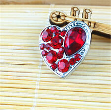 3D Rhinestone Red Heart Charm Chunk Snap Button FIT For Noosa Leather Bracelets