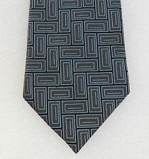 SMART Check Cravatta di seta modello successivo Pura Seta Blu Nero Grigio Extra Lungo