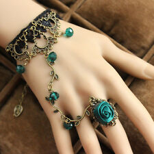 Gothic Victorian Green Rose Branch Shape Black Lace Bracelet with Ring LB007