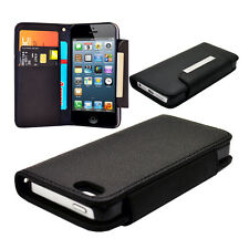 For Iphone 5 Premium Pu Leather Black Wallet Case Cover With Strap   Screen Film