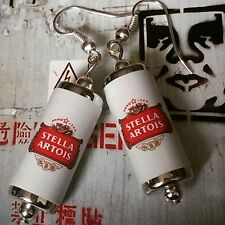Unique STELLA ARTOIS EARRINGS handcrafted DESIGNER drink LAGER beer PUB bar CANS