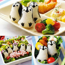 Penguin Shape Sushi Rice Ball Mold Onigiri Mould Maker with Nori Punch DIY Bento