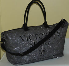 NEW ~VICTORIA`S SECRET~ Large Silver Weekender LIMITED EDITION Tote Bag