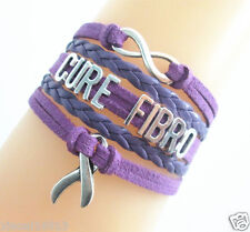 Infinity CURE FIBRO Cancer Ribbon Charms Suede Leather Braided Bracelet PURPLE