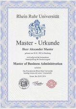 Ihre Masterurkunde,  Uni Rhein Ruhr, Urkunde, Diplom, Adelstitel,personalisiert