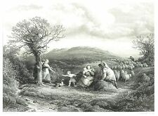 La MONTAGNA pastori-incisione da C. COUSENS dopo John Linnell-c1850