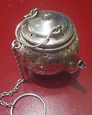 Antique Sterling Tea Strainer Miniature Tea Kettle with Victorian Floral Pattern