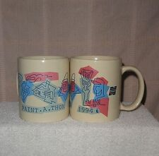 2 Norwest Bank 1994 Vintage Paint-A-Thon Mugs Cups Linyi Headwind