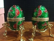 1 of 2 emerald Egg Trinket Box on Stand Golden Accent NIB Faberge Russian Style