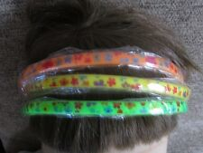 Pack 3 neon hair alice bands plastic floral hairband headband 1cm band flowers