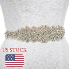 Wedding Satin Sash Belt Luxury Rhinestone Beaded Crystal Bridal Dress Belt