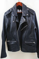 TOPMAN Black Leather Biker Jacket Size XL  MADE IN INDIA