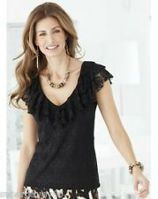 PRETTY ELEGANT BLACK LACE STRETCH 3 LAYER FRILL LINED TOP BLOUSE SIZE 20