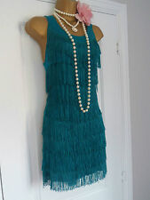 H&M 1920s Stile Gatsby Flapper Charleston Frange Nappa Abito Taglia 8/10 piccoli
