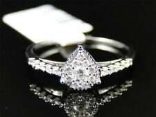 10K White Gold Ladies Round Diamond Pear Shaped Engagement Fashion Ring 1/4 Ct