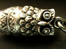 Heavy 14.8g sterling silver Embossed Wise Owl bird Working Whistle charm pendant
