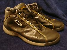 oakley mens blk leather high top lace shoes sz 9 sabot teeth nail saw ! NICEEE !