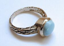 Sterling Silver 925 Blue Larimar Round Bezel Ring Size 8