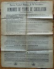 RARE AFFICHE NOVEMBRE 1939 MINISTERE DEFENSE INTERIEUR PERMIS CIRCULATION ZONES