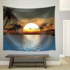 Trees Framing the Sunset and Reflection Over the Ocean-Fabric Tapestry-88x104