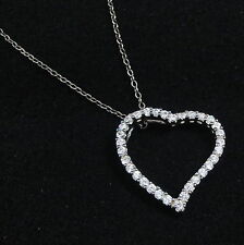 White Topaz Heart Pendant 925 Sterling Silver 18 inch chain Necklace in Gift Box