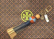 NWT Tory Burch Dipped Leather Tassel Key Fob Chain Logo Bag Charm Multicolor