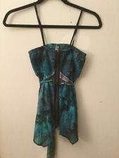Free People Anthropologie Blue Floral Tank Top with Zipper & Waist Tie, Size XS