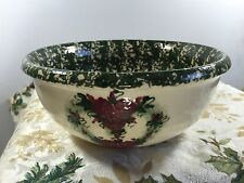 """Vintage Casey Pottery Mixing Bowl Stoneware Heart Shaped Wreath of Roses 8.75"""""""
