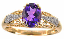 1.00 Cttw Oval Brazilian Amethyst and Diamond Accent 14K Yellow Gold Ring Size 6